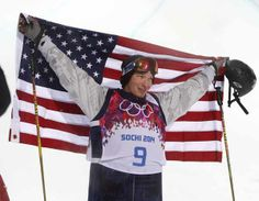Feb 18, 2014; Krasnaya Polyana, RUSSIA; David Wise (USA) celebrates after winning gold in men's skil halfpipe during the Sochi 2014 Olympic Winter Games at Rosa Khutor Extreme Park. Mandatory Credit: Nathan Bilow-USA TODAY Sports