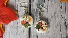 Button Dangle Earrings  Antique style wooden by BlueWorldTreasures