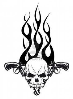 Human skull with gun and flames for tattoo design Stock Photo - 16653960