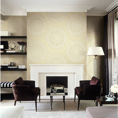 Seabrook Wallpaper CB90803 - Carl Robinson 9-Romantique - Lace Medallion Shown in Sitting Room