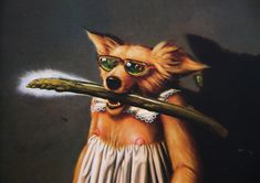 """Title: Patricia had come from the garden where she had heard messages… one coming from a burning bush… and one coming from an asparagus… and one coming from the back of her mind…  Roller's paintings almost always have a written sequential storyline accompanying the art, and the characters know each other and interact socially from painting to painting. From """"PATRICIA STRUGGLED"""":  NOT TOO LONG PAST MIDNIGHT… A"""