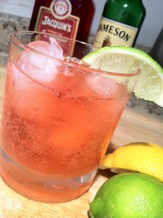 The Irish Redhead : Mix with ice 3oz Jameson Irish Whiskey, 1oz grenadine, 5-6oz chilled Sprite or Ginger Ale or Club Soda, a squeeze of both lemon and lime juice to taste.