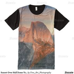 Sunset Over Half Dome Yosemite Blue And Orange All Over Print Tee This souvenir shirt features nature travel photography from the beautiful Yosemite National Park, CA USA during sunset with orange clouds swirling in the background and the iconic landmark Half Dome in the foreground. Great gift for a hiker, rock climber, outdoorsman, mountain or park lover.