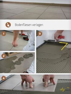 Bodenfliesen verlegen Any DIY enthusiast who is up for grabs will eventually install floor tiles him Painting Tile Floors, Kitchen Paint Colors, Block Wall, Bathroom Countertops, Floor Design, Colour Schemes, Interior Design Living Room, Decoration, Kitchen Remodel