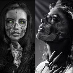 Chicano Tattoos, Chicano Art, Leg Tattoos, Girl Tattoos, Sleeve Tattoos, Skull Girl Tattoo, Girl Face Tattoo, Girl Face Drawing, La Muerte Tattoo