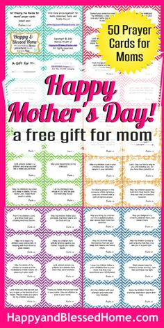 """FREE Mothers Day Gift - 50 Prayer Cards based on Psalms 1-20 """"There is just something about praying for loved ones that brings peace to a mama's soul."""" HappyandBlessedHome.com #FREEMothersDay, #FREEPrintables, #MothersDay"""