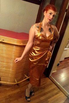 Genevieve April in Copper Lamé, perfect for a Las Vegas vintage tea length wedding dress!