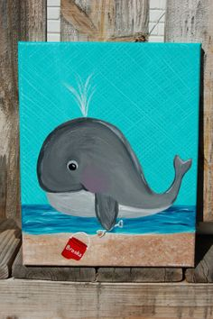 Acrylic on canvas  whale with sand bucket by HappyLlamaDesigns on Etsy, $30.00