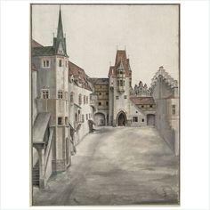 Albrecht Dürer - Hof der Innsbrucker Burg (ohne Wolken), um oder nach 1496/97.  Aquarell und Deckfarben über schwacher, teilweise unausgearbeitet gebliebener Stiftvorzeichnung.