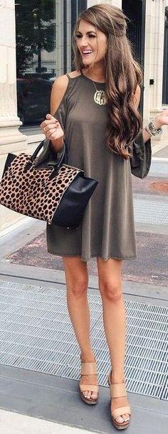 khaki cut-out shoulders dress