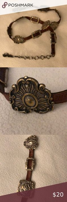 Brighton Women's Very Ornate, Brown Leather Belt Very unique metal pieces stationed all along the belt. Brighton Accessories Belts Online Thrift Store, Brown Leather Belt, Brighton, Thrifting, Women Accessories, Metal, Bracelets, Jewelry, Jewlery