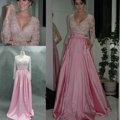 Stunning Real Picture Vestidos De Bridesmaids Dresses para madrinhas Beads Nude Pink Satin A-Line Long Sleeves Charming Floor length