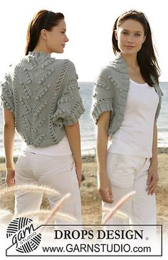 """Ravelry: 101-6 shrug knitted in bobble and lace pattern with """"Silke-Alpaca"""" pattern by DROPS design"""