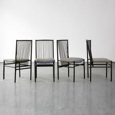 "Joaquim Tenreiro, Brazil, 1947  Set of ten ebonized ""Structural"" chairs with upholstered seats.    18.25"" L x 16"" W x 36.25"" H / 46.36cm L x 40.64cm W x 92.08cm H  CH737"