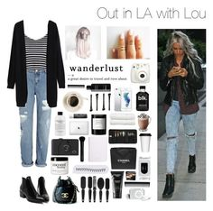 """Out in LA with Lou"" by chanelniall ❤ liked on Polyvore featuring River Island, Glamorous, Mason's, BRAD Biophotonic Skin Care, Beauty Is Life, Linum Home Textiles, philosophy, Chapstick, Byredo and Sephora Collection"