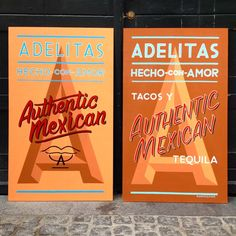 A couple of funky new signs for @adelitascph #freehand #signpainting #1shot #handlettering #alwayshandpaint #skiltemaler #brushlettering #handmade #NORTHSOUTH #mexican #tacos #tequila