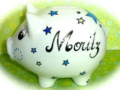 Geldgeschenke - Sparschwein XL Nr. 128 Sternchen - ein Designerstück von MM-Bastelparadies bei DaWanda Piggy Bank, Etsy, Save My Money, Wrapping Gifts, Crafting, Money Box, Money Bank, Savings Jar