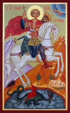 Ο Άγιος Γεώργιος ο Εξορινός της Αμμοχώστου Byzantine Icons, Byzantine Art, Religious Icons, Religious Art, Medieval Art, Renaissance Art, Dragon Icon, Saint George And The Dragon, Church Icon