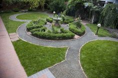 colorado backyard design ideas - Google Search  Love the circular design- put a playground in the middle instead of the garden