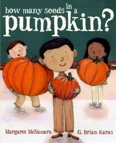 "Concept Book: ""How Many Seeds in a Pumpkin?"" by Margaret McNamara is about Mr. Tiffin's class and their pumpkin-themed classroom experiment where the smallest boy in class named Charlie had the smallest pumpkin but ended up having the most seeds.  This book would be good to teach estimation, skip counting, and comparing greatest to least."
