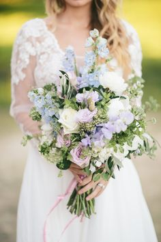 Sweet Pea Bridal Bouquet in Pretty Pastels // Photography ~ White Images