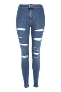 Topshop MOTO Blue Super Ripped Joni Jeans