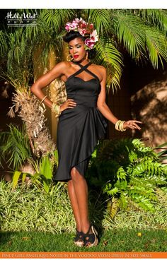 Deadly Dames- Voodoo Vixen Dress in Black | Pinup Girl Clothing