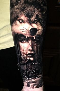 Incredibly Detailed Hyper-Realistic Tattoos By Drew Apicture - awesome black & gray wolf tattoo © tattoo artist Drew Apicture ❤❤❤❤ - Wolf Tattoos Men, Animal Tattoos, Cover Up Tattoos For Men, Tattoos For Guys, Body Art Tattoos, Hand Tattoos, Motivational Tattoos, Hyper Realistic Tattoo, Wolves And Women