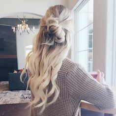 Messy half bun created with Tressmerize extensions kit for short hair. Innovative 6 piece kit that includes 5 clip-in hair extensions strands with a hand-made hair topper that helps your seamlessly blend everything together for a most natural look and feel. #tressmerize #hairextensions #longhair