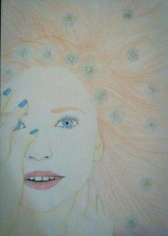 #draw#girl#longhair#flowers#daisy#blue#bluenails :3