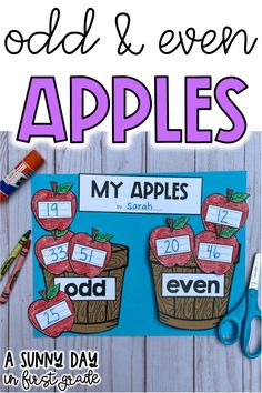 This apple-themed math craft is a fun way to practice or review odd and even numbers. Math projects are a fun way to end the week and perfect for sub plans. Perfect for math centers as well!