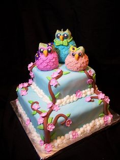 Owl Family Cake-By The Mad Platters
