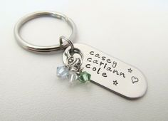 Personalized Keychain - Hand Stamped Oblong Dog Tag. $10.00, via Etsy.