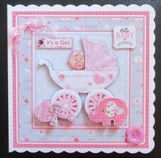 NEW BABY GIRL IN PRAM 7.5 Decoupage & Insert Mini Kit - CUP892302_68 | Craftsuprint