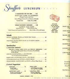 Stouffer's Restaurant Luncheon Menu, 1955.