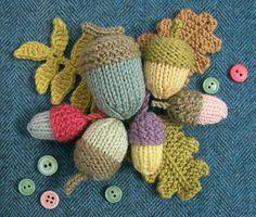 Knot Garden: September (knitted acorns and leaves)