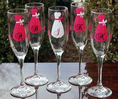 Champagne flutes for bride & bridesmaids