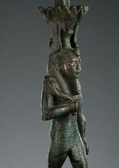 Bronze and silver statuette of the god Nefertem. Detail. Late Period. 26th-30th dynasty, c. 7th-4th century B.C. | Phoenix Ancient Art Gallery
