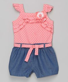 Look what I found on #zulily! Coral & Denim Polka Dot Romper - Infant by Baby Essentials #zulilyfinds