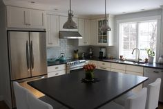 """""""Beverly, MA Kitchen Remodel""""-- Annual Heart of the Home Kitchen sponsor Carriagetown Kitchens Window Over Sink, Kitchen Sink Window, Bay Window Living Room, Cape Cod Style House, Cherry Cabinets, Built In Bookcase, Stone Flooring, Crockpot Recipes, Kitchen Remodel"""