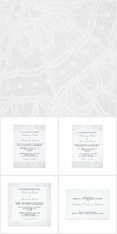 White Lace Wedding  Invitations by Janusian Gallery. #zazzlemade