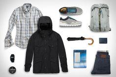 Todd Snyder Gordon Linen Shirt ($295). Nanamica Cruiser Jacket (788). Epperson Mountaineering Mil Spec Pack ($228). Clae Hoffman Sneaker ($100). Casio Calculator Watch ($15). Raleigh Denim Martin Jeans ($285). Harvard Design Magazine #39 ($16). London Undercover Umbrella ($105). Jao Bomade...