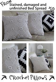Handmade Crochet Pillows from a vintage granny blanket. Find them at www.etsy.com/shop/SongbirdsNest