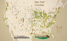 Disc Golf Course Map shows density of courses in regions.
