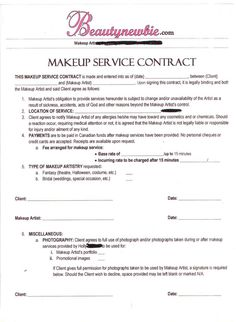 Hair Stylist  Makeup Artist Bridal Agreement Contract Template