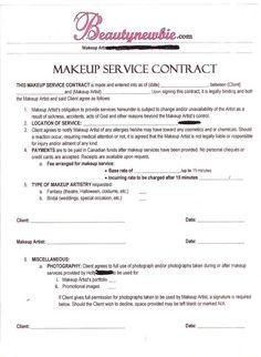 Hair Stylist & Makeup Artist Bridal Agreement Contract Template ...