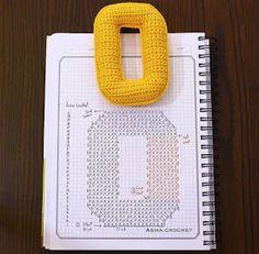 Amigurumi letter O Crochet Gratis, Crochet Diy, Crochet Amigurumi, Crochet Home, Love Crochet, Crochet Diagram, Crochet Chart, Crochet Motif, Crochet Stitches