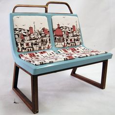 Fun and funky upcycle from Canadian company Foutu Tissu using old bus seats and original printed textile covering.