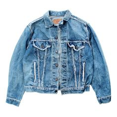 Vintage Levis Denim Jacket ($105) ❤ liked on Polyvore featuring outerwear, jackets, tops, coats, vintage jackets, denim jacket, vintage jean jacket, blue jackets and heavy denim jacket
