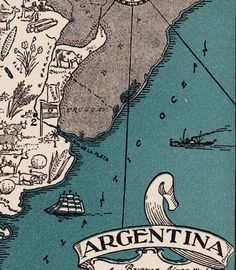 1940s Whimsical ARGENTINA Map of CHILE Print by OnTheWallPrints